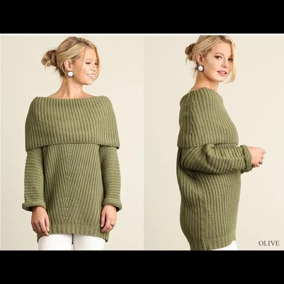 Umgee Sweaters Off Shoulder Cowl Neck Tunic Sweater Dress Poshmark